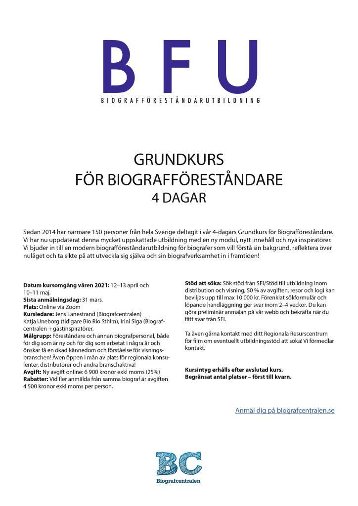 Biografföreståndarutbildning – delfinansiering